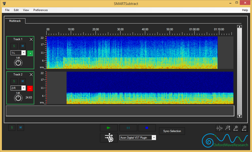 Two tracks automatically synchronised audio in SMARTSubtract